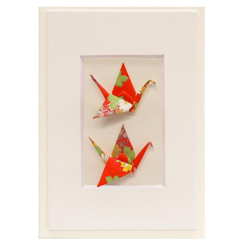 Card Twin Crane Flowers Red