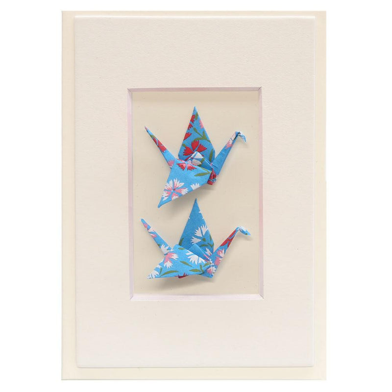 Card Twin Crane Flowers Blue