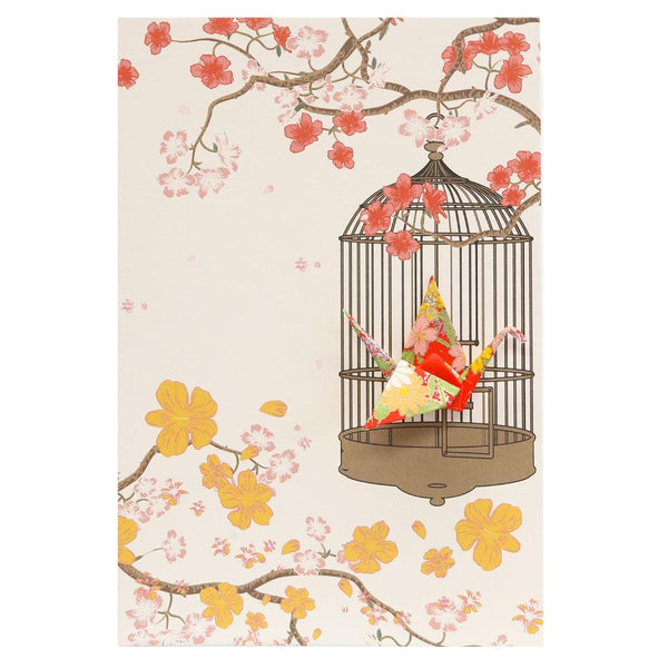 Card Crane in Cage Flowers Red