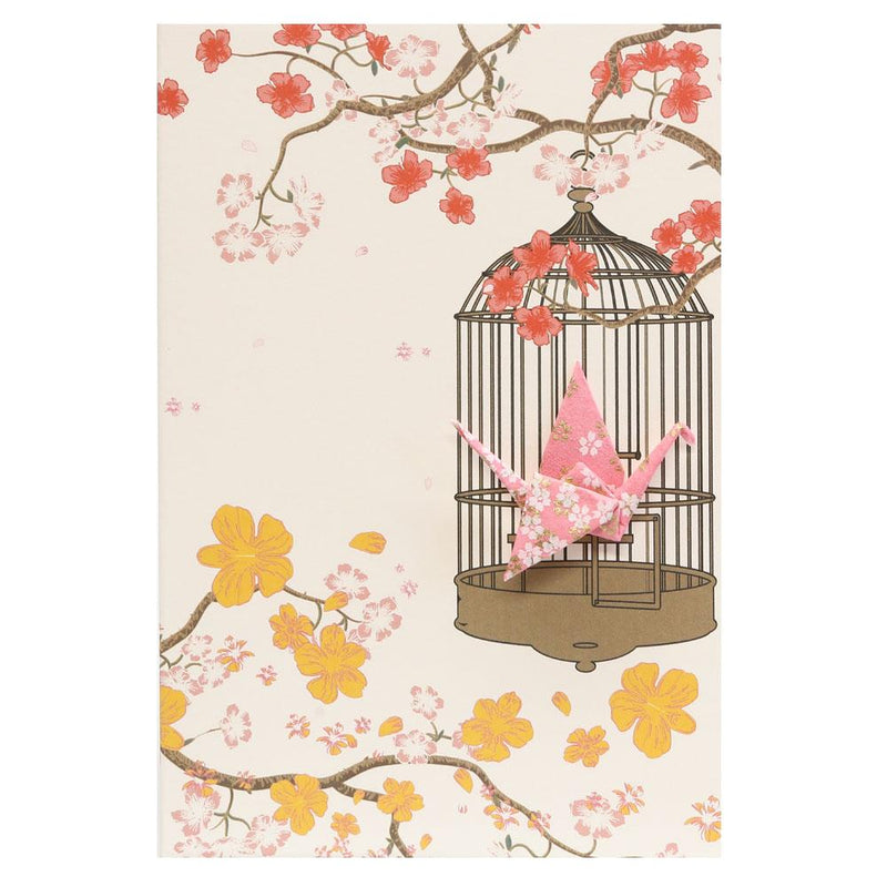 Card Crane in Cage Little Flowers Pink