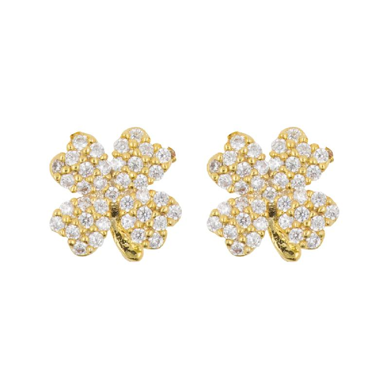 Earring Diamante 4 Leaf Clover
