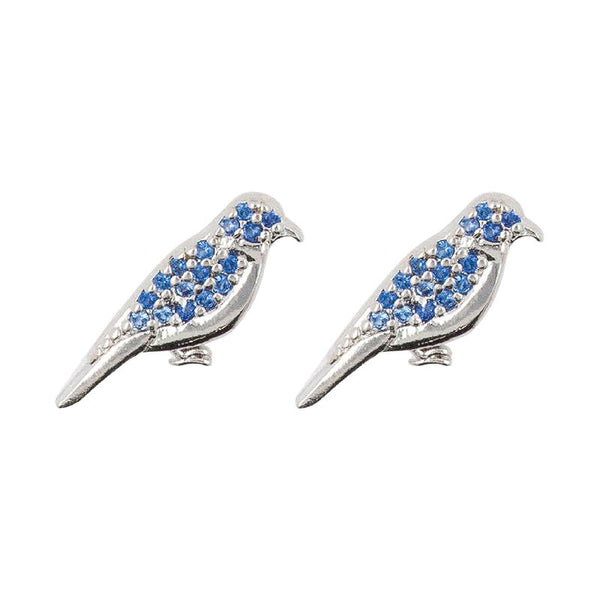Earring Diamante Bird Blue