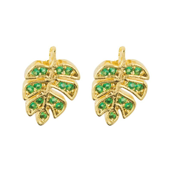 Earring Diamante Leaf Green