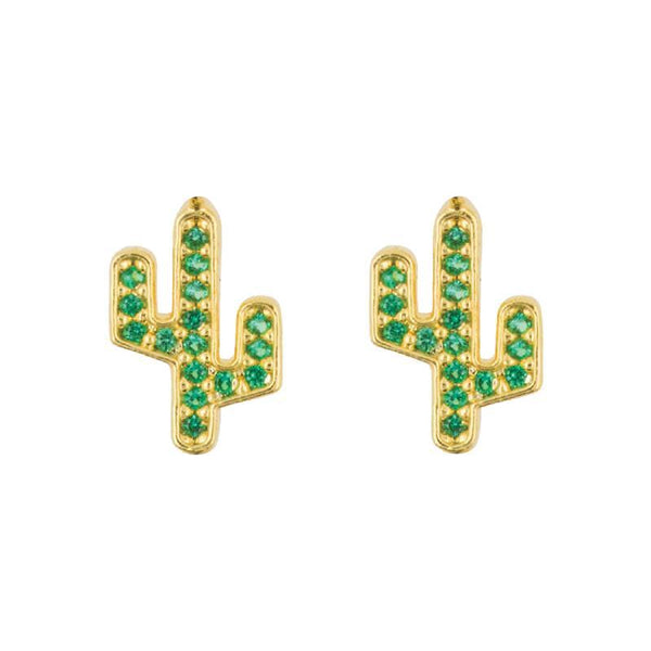 Earring Diamante Cactus Green