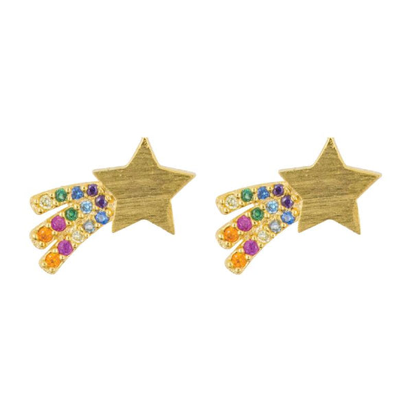 Earring Diamante Shooting Star Rainbow