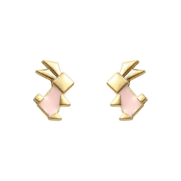 Earring Epoxy Origami Pink Rabbit