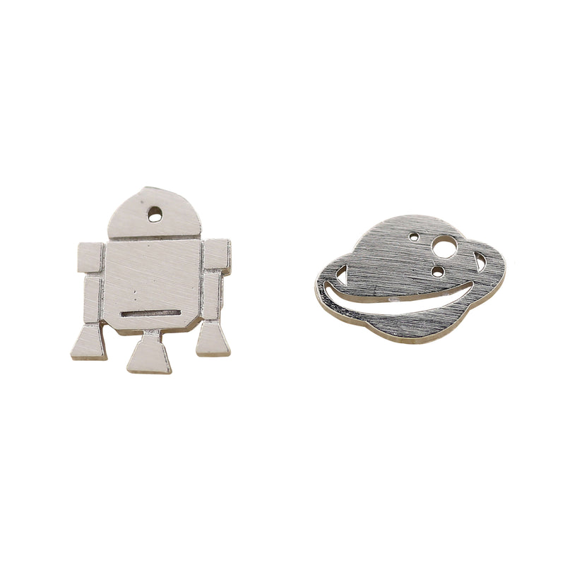 Earring Spaceship & Planet Silver