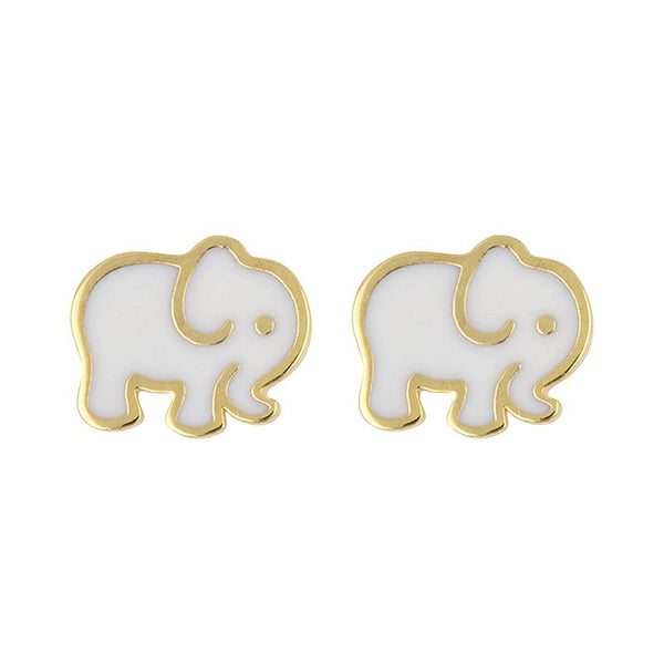 Earring Epoxy Baby Elephant White