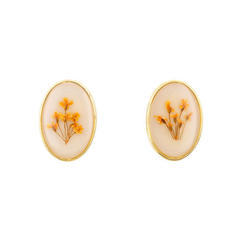 Big Oval Flower Orange Cream Earrings