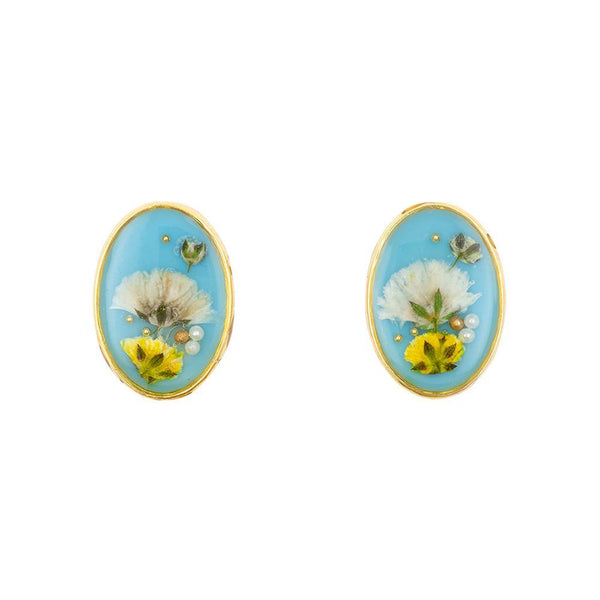 Big Oval Flower Yellow White Blue Earrings