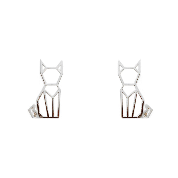 Earring Cat Stencil Silver