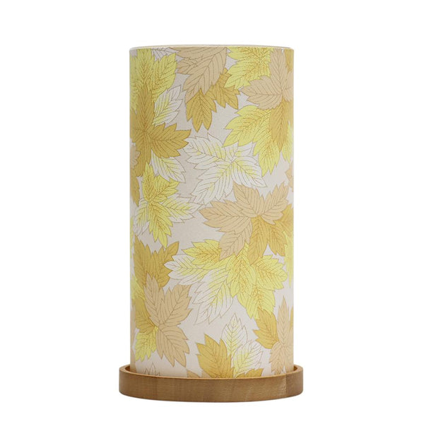 Glass Lantern Maple Leaves Yellow*