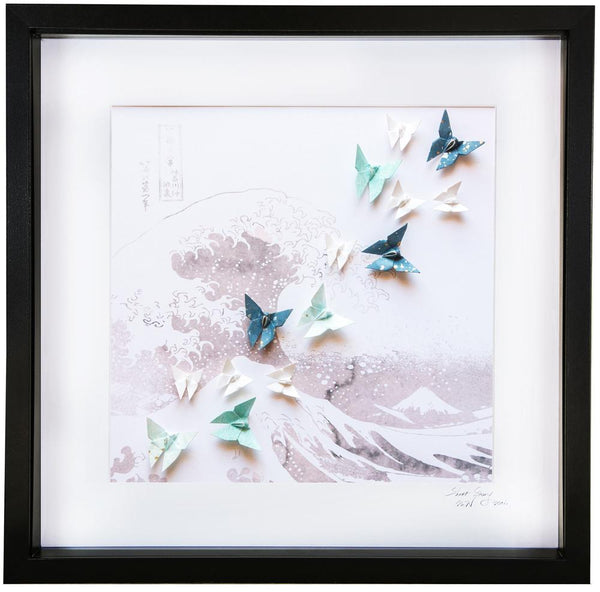 Large Black Frame Hokusai Waves