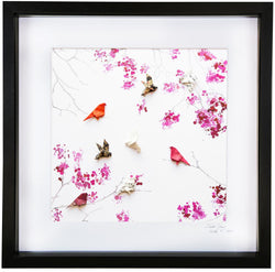 Large Black Frame Painted Cherry Blossom