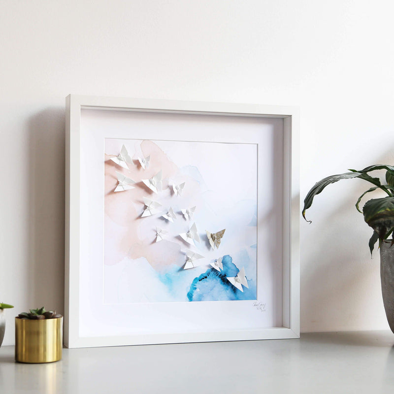 Large White Frame Sky Blue & Blush