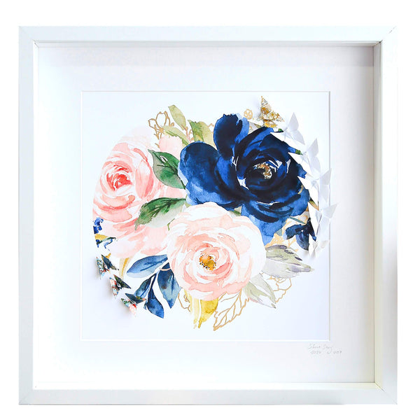 Large White Frame Floral Circle