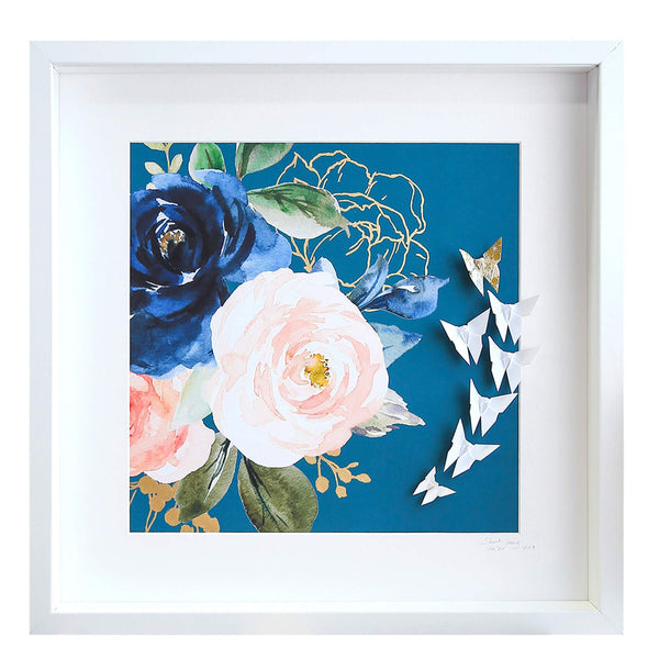 Large White Frame Floral Blue