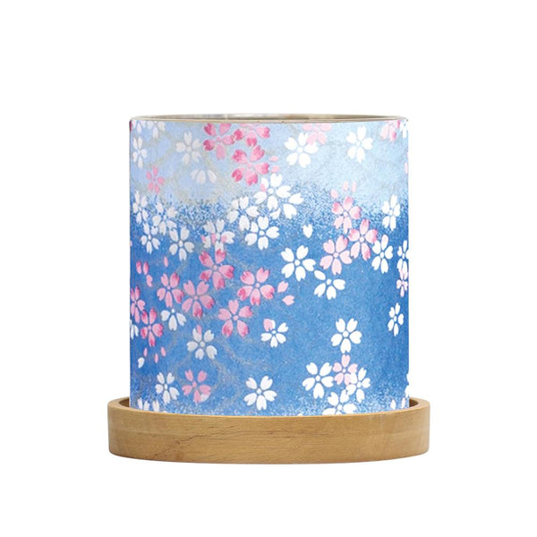 Mini Glass Lantern Blossoms Blue