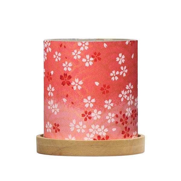 Mini Glass Lantern Blossoms Red*