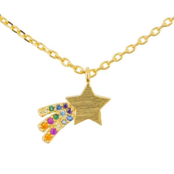 Necklace Diamante Shooting Star Rainbow