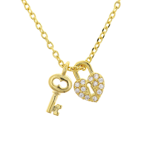 Necklace Diamante Lock and Key