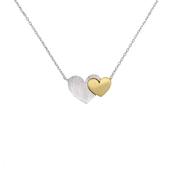 Necklace Heart Duo Silver