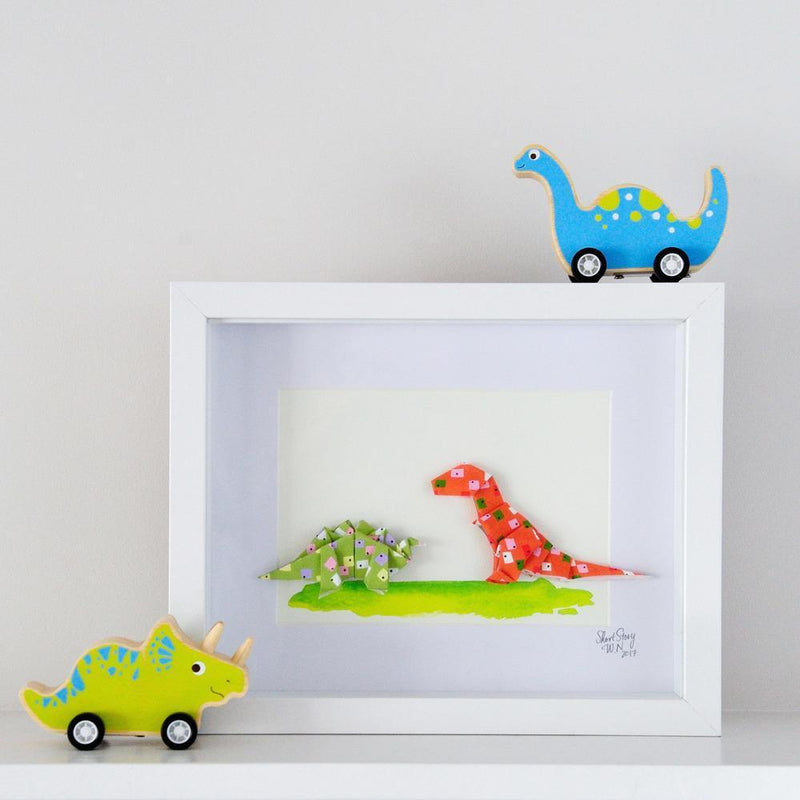 Small White Frame Dinosaur Friends