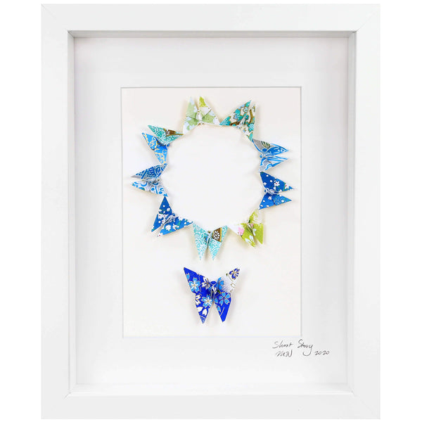 Small White Frame Circle of Life Blue