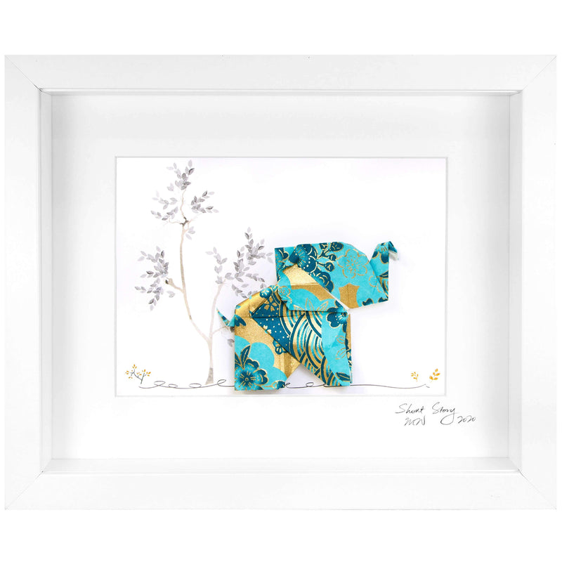 Small White Frame Happy Elephant Blue