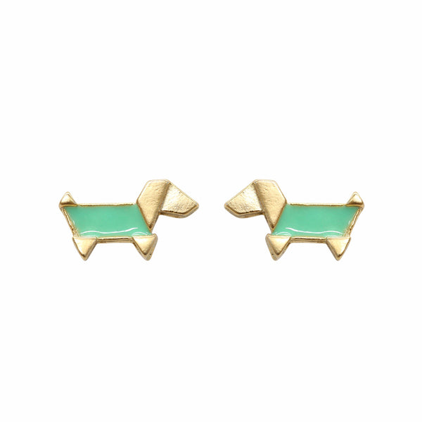 Earring Epoxy Origami Dog Green