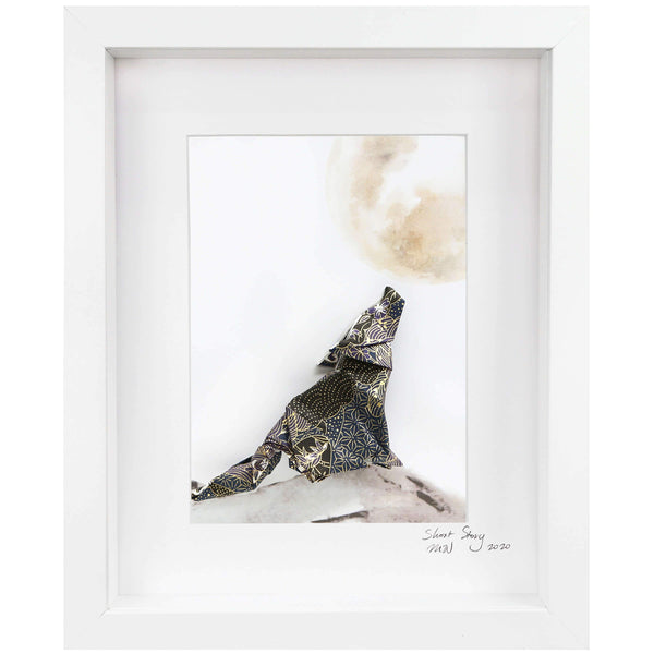 Small White Frame Wolf