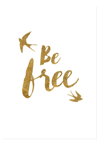 Postkarte - Be free - gold
