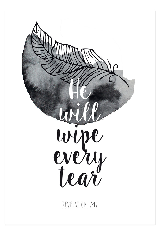 Postkarte - He will wipe every tear