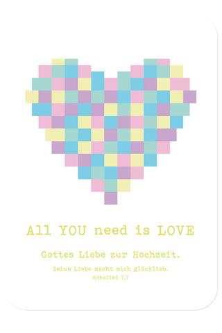 Postkarte - Hochzeit - All you need is love