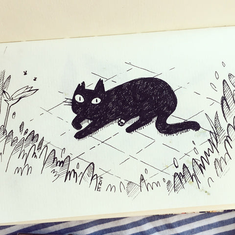 "Kitty Inktober ""Neighbour's cat"" Original Drawing ACEO"
