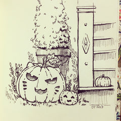 "Kitty Inktober ""Cat-o-Lanterns"" Original Drawing ACEO"