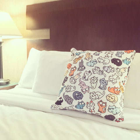 Decorative pillow with Catsu Kitty Pattern