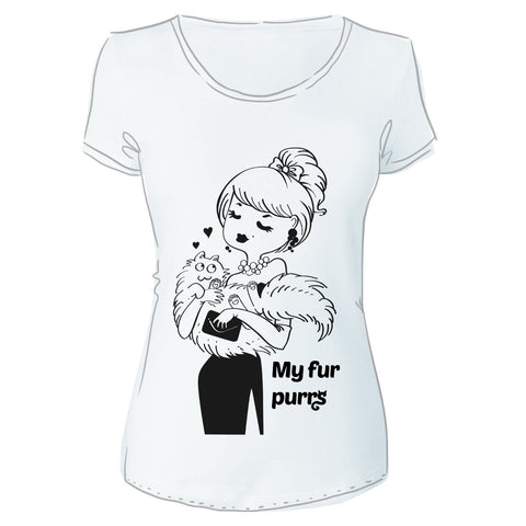 """My fur Purrrs"" Cotton T-Shirt"
