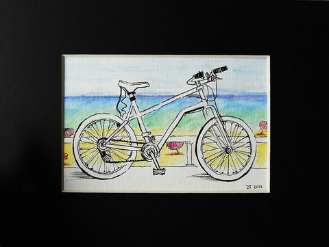 """Bicycle in Cote D'Azur"" Pen and Watercolor Pencil Drawing ACEO"