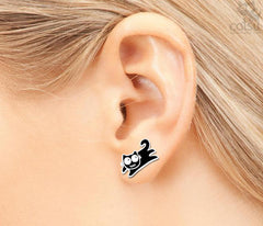 Sterling Silver Kitty Earrings