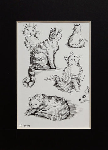 Sketches in Cat Cafe, Pen Drawing ACEO