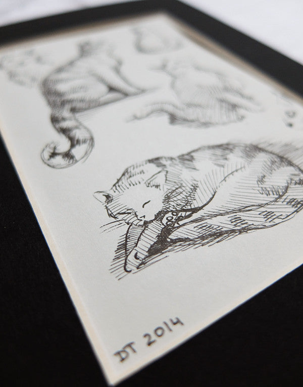 Sketches in Cat Cafe, Pen Drawing ACEO | Catsu The Cat