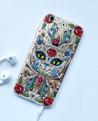 Sugarskull Cat iPhone 5/6/6S/Plus/7 case