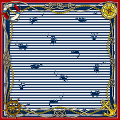 "Silk Kitty Scarf ""Nautical Felines"""