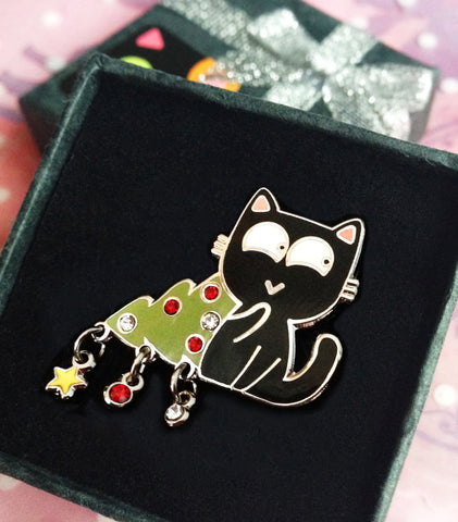 """Wasn't me!"" — Christmas Tree Kitty Pin"