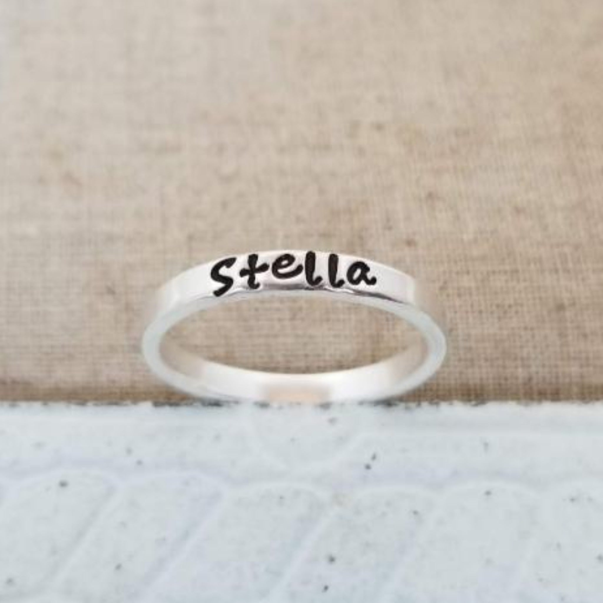 3mm Custom Stacking Name Ring - Sterling Silver