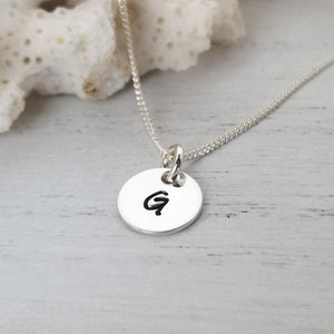 Custom Tiny Initial Necklace - 3/8 Inch - Sterling, Gold, or Rose Gold