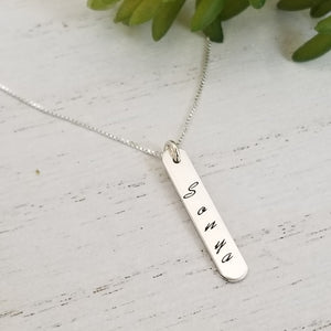 Sterling Silver Vertical Name Bar Necklace