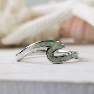 Opal and Sterling Silver Wave Ring - Blue or Opaque