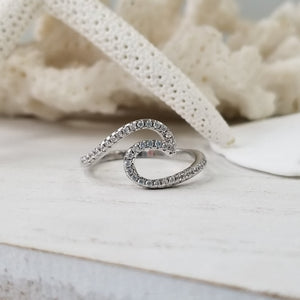 CZ Pave Wave Ring - Sterling Silver